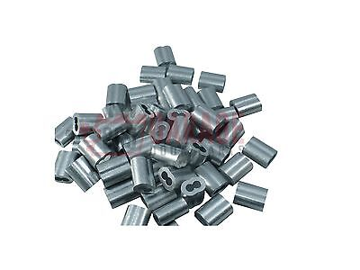 "Pack of 100 Aluminum Crimping Loop Sleeve for 1/8"" Diameter Wire Rope and Cable"