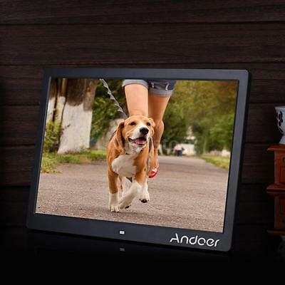 """15.6"""" LED Digital Photo Picture Frame Alarm Clock MP3/4 Movie Player Remote D2O9"""