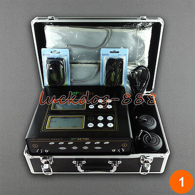 Dual Ionic Foot Detox Spa Bath LCD Machine & 2 Fir Belts 5 Modes & 2 Arrays