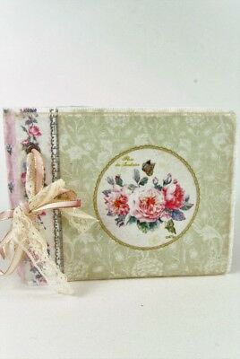 Vintage style Pink Strip Pale Green Floral Fabric Covered Notebook with Ribbon
