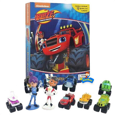 NEW Blaze And The Monster Machines Set Of 12 Figures & My Busy Book & Map