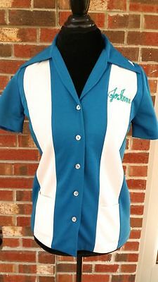 Vintage Mid Century Womens Bowling Shirt Blue and White Size Small 34