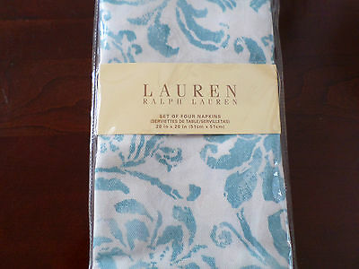 New Ralph Lauren Bluff Point Floral White Aqua Napkins 4pc