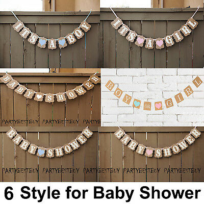 Baby Shower Bunting Banner It's A Boy Girl Party Garland Photo Props Decor Sign