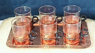 Vintage Full Set Of Copper Serving Tray With 6 Matching Copper Glass Insert Cups