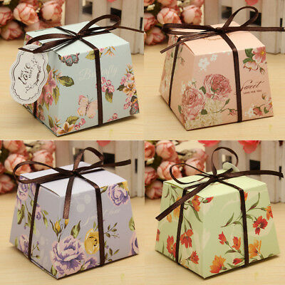 10/20/50Pcs Flower Laser Paper Cake Candy Boxes Ribbon Wedding Party Favor Gift