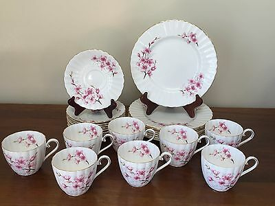 Tuscan ALMOND BLOSSOM China Dessert SVC Flat Cup & Saucer/ Dessert Plates ~ 8