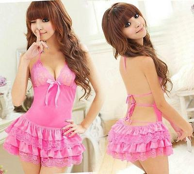 Sex y Frilly Satin & Lace Soft Cup Halter Neck Babydoll with Matching Knickers