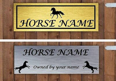 Personalised horse pony stable door sign plaque plate in SILVER or GOLD