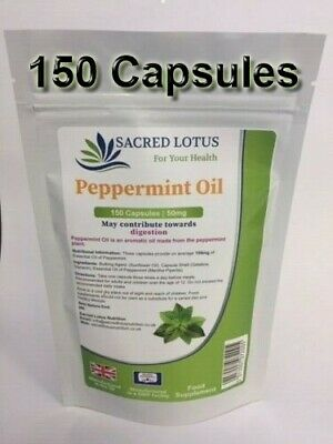 Oil of Peppermint 100 Capsules, Indigestion, Wind, IBS Lindens Pack 100 UK MADE