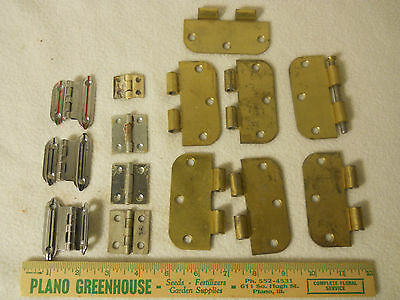 Lot of Hinges-7 Lg Brass Plated-3 Silver Plated-3 Silver Labeled England-1 Odd