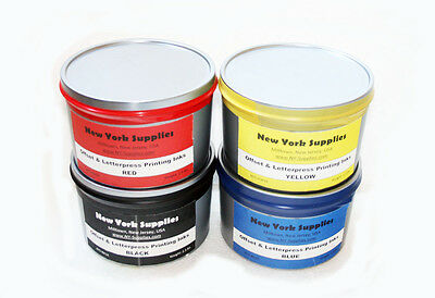 Assorted Offset & Letterpress Printing Inks - Black Blue Red Yellow 2.5 lbs each