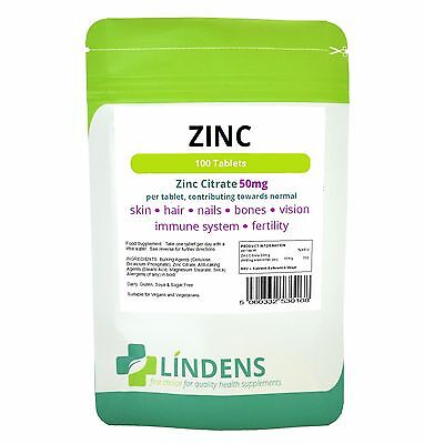 LINDENS ZINC CITRATE 50MG x 100. ONE DAILY FOR ACNE SEXUAL HEALTH HAIR LOSS