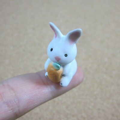 Tiny Rabbit Bunny Hug Carrot Collectible Miniature Figurine Ceramic for Decor