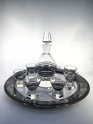 Art Deco Crystal Enamel Decanter Set with 6 Shot Glasses and Silver Overlay Tray