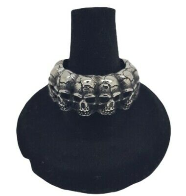 Skull Band Ring NEW Silver Large Chunky Biker Gothic Punk Mens Stainless Steel