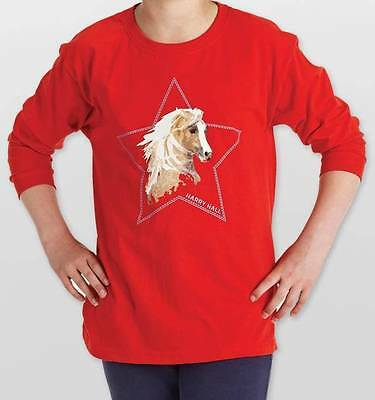 Harry Hall Faxton Long Sleeved Childs Riding T Shirt Top Red Horse Print New