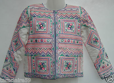 MONSOON GIRLS WHITE EMBROIDERED BEADED QUILTED COTTON JACKET 11-12yrs