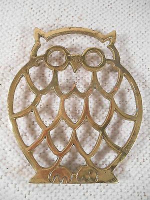 "7"" x 6""  Owl Shaped Brass Trivet / Hot Plate"