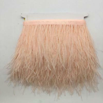 Wholesale 1Yard Ostrich Feather Satin Ribbon Trimming Fringe Champagne 4-6in