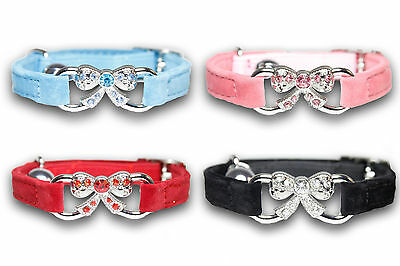 Cat Collars Pet Coller Diamante Rhinestone Collor Safety Elastic Velvet Bell UK