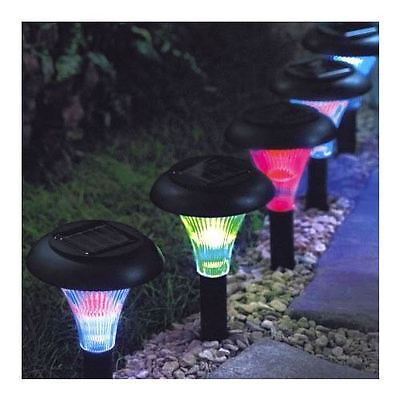 9 Solar Powered Colour Changing Crystal Lights Ambient Garden Lighting New