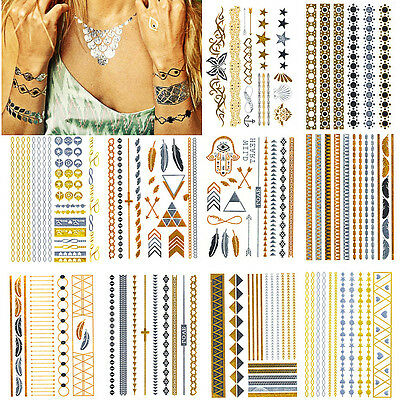Temporary Flash Tattoos Inspired Body Art Makeup Sticker Gold  Body Art Jewelry
