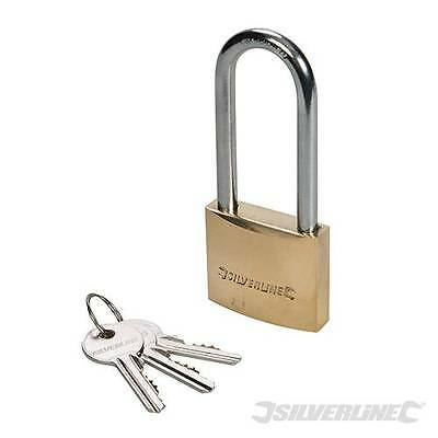 Silverline Solid Brass Padlock Long Shackle 50mm - Security Safety Lock - MSS04L