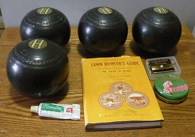 Antique English Lawn Bowling Bocce Balls Set of 4 with book and accessories
