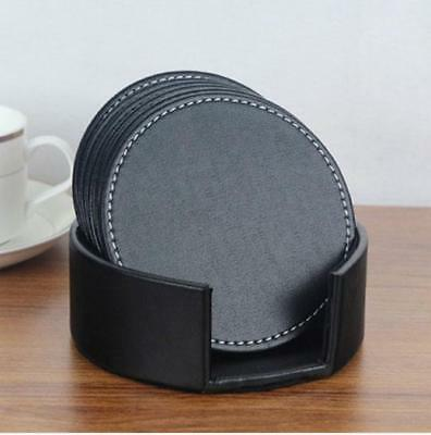 6Pcs Set Quality Leather Coaster Cup Glass Table Mat Pad with Coaster Holder
