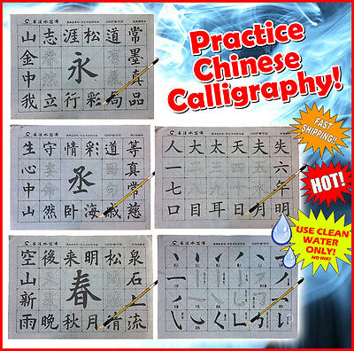 PRACTICE Chinese Calligraphy Reusable Writing Magic Cloth includes set Brush