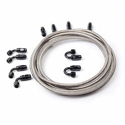 AN6 -6AN Silver Steel Braided Oil Fuel Line + Fitting Hose End Adaptor Kit Black