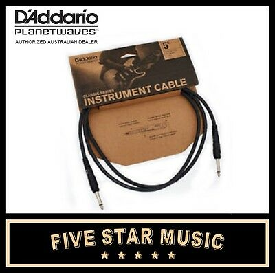 D'ADDARIO PLANET WAVES CLASSIC GUITAR CABLE 5' PW-CGT-05 FIVE FOOT 1.5m LEAD NEW