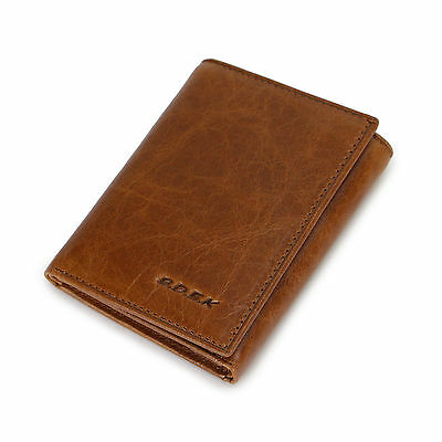 New Men's small mini Trifold Genuine Leather Wallet Brown Card Holder Coin Purse