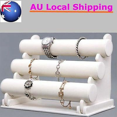 White 3-Tier Leatherette Jewelry Bracelet Watch Display Organizer Holder Stand