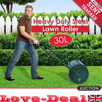 Outdoor 30L Heavy Duty Metal Water Sand Filled Garden Perfect Grass Lawn Roller