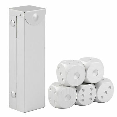 5pcs/set Aluminum Alloy Dice Set Metal Case Gift for Party Home Play Games DW