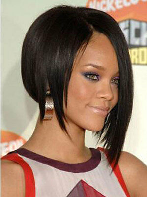 Cheap Medium Straight Black African American Celebrity Hairstyle Lace Wigs