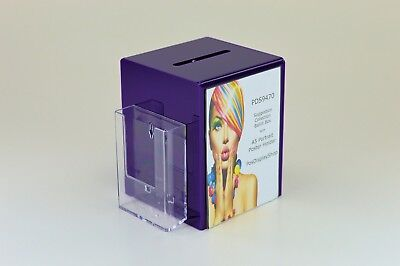 Collection / Comment / Suggestion Box with Leaflet holder PDS9470 Purple