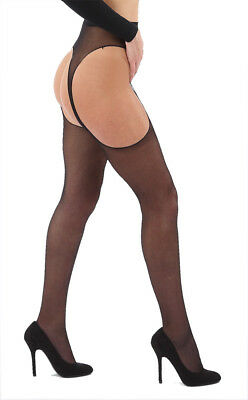 LADIES SUSPENDER TIGHTS Available in Black, Red, White 15 Denier