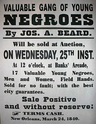 "(045) SLAVERY GANG OF YOUNG NEGROES CIVIL WAR BROADSIDE 11""x14"""