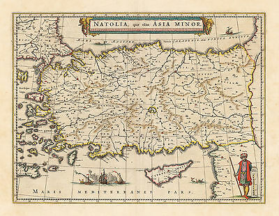 HJB-Antique Maps: Asia Minor or Turkey By: Willem Blaeu Date: 1640 (c) Amsterdam