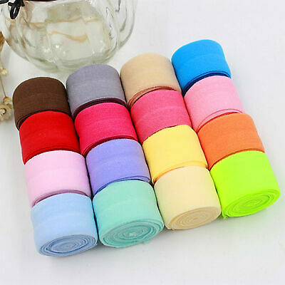 "3 5 10 20 50 yards 20MM 3/4"" Multirole fold over elastic Spandex Satin Band DIY"