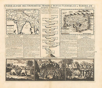 HJB-AntiqueMaps : 1720 Map of India and Kashmir by Chatelain