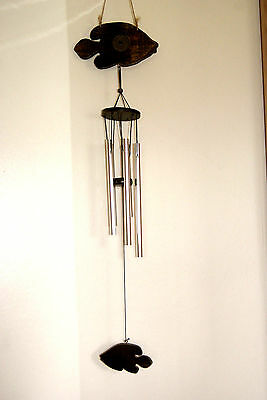 Chinese Oriental Wind Chime with Lucky Wooden Fishes & 5 Silver Metal Tubes