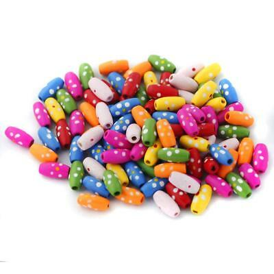 100x Mixed Colour Wooden Barrel Beads Jewelry Making Loose Spacer Charms