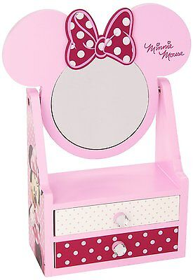 Kids Childrens Girls Baby Pink Disney Minnie Wooden Jewellery Drawer With Mirror