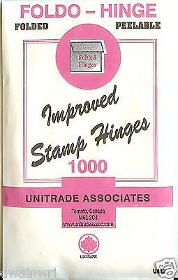 "Stamp Hinges - ""Foldo-Hinge"" Package of 1000 Folded, Peelable  - $2.49"