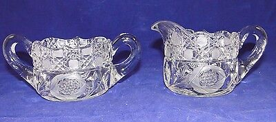 A Stunning Antique Clear Glass/Crystal Sugar and Creamer Set