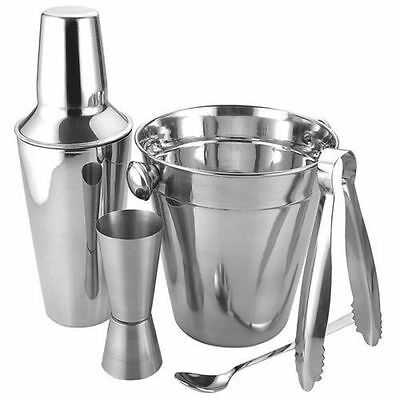 Silver Cocktail Shaker Set Bar Mixer Kit Drink Party Mix Juice Stainless Steel